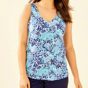 Lilly Pulitzer Gigi Light Aqua Spritz Tank Top